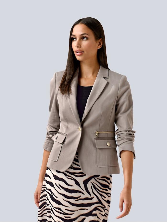 Alba Moda Blazer met zipperdetail, Beige