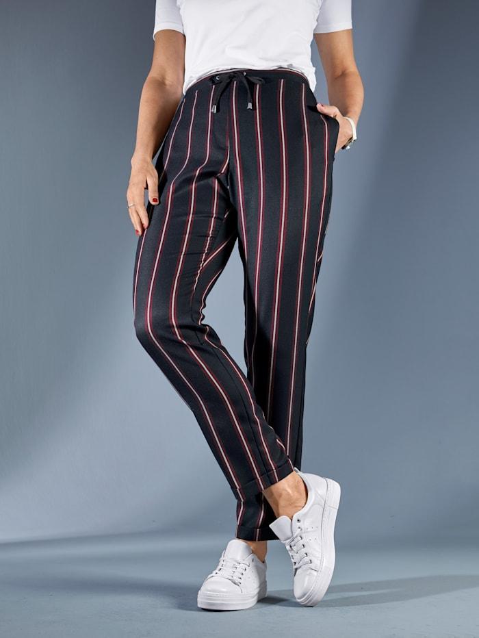 MIAMODA Hose mit streckendem Streifenmuster, Marineblau/Rot