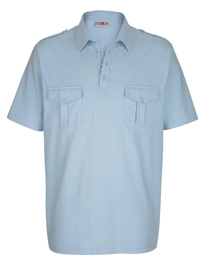 Roger Kent Poloskjorte med brystlommer, Lyseblå