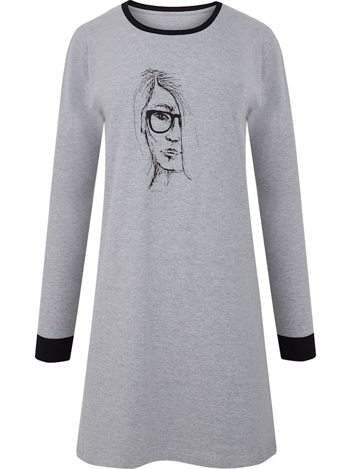 Cybèle Damen Langarm Nachthemd, grau melange