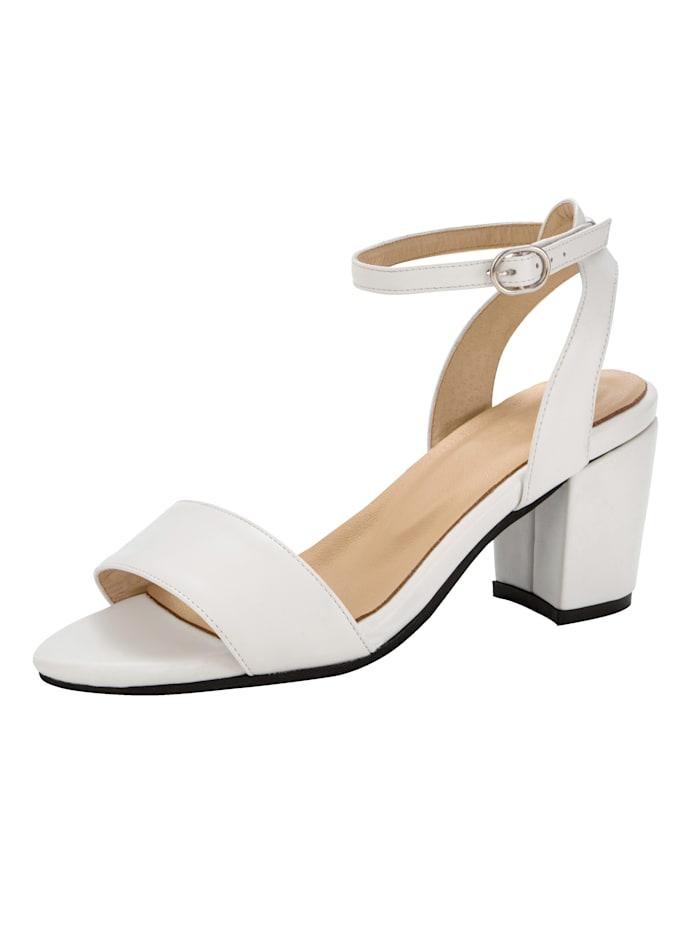 Sandaletter med vristrem och stabil klack, Vit