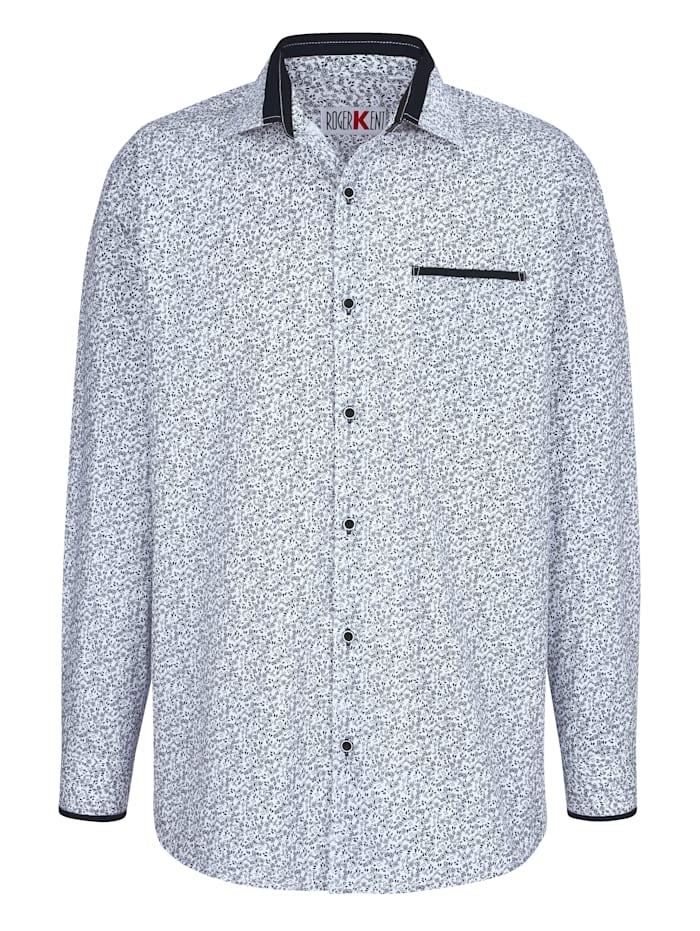 Roger Kent Overhemd met paisleyprint, Wit/Marine