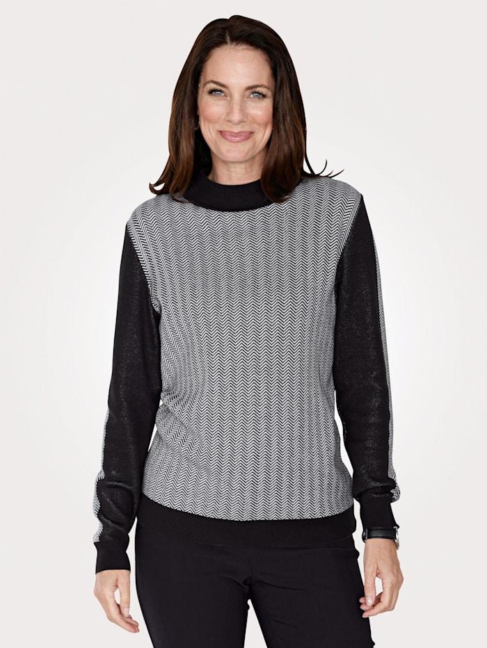 MONA Pullover mit modischem Fischgrätmuster, Schwarz/Weiß