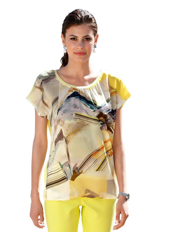AMY VERMONT Shirt mit bedruckter Webware im Vorderteil, Gelb/Multicolor