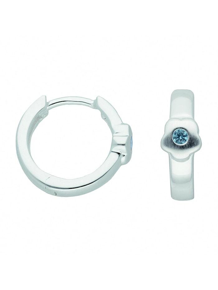 1001 Diamonds Damen Silberschmuck 925 Silber Ohrringe / Creolen Blüte mit synthetischer Spinell Ø 13,3 mm, bunt/multi