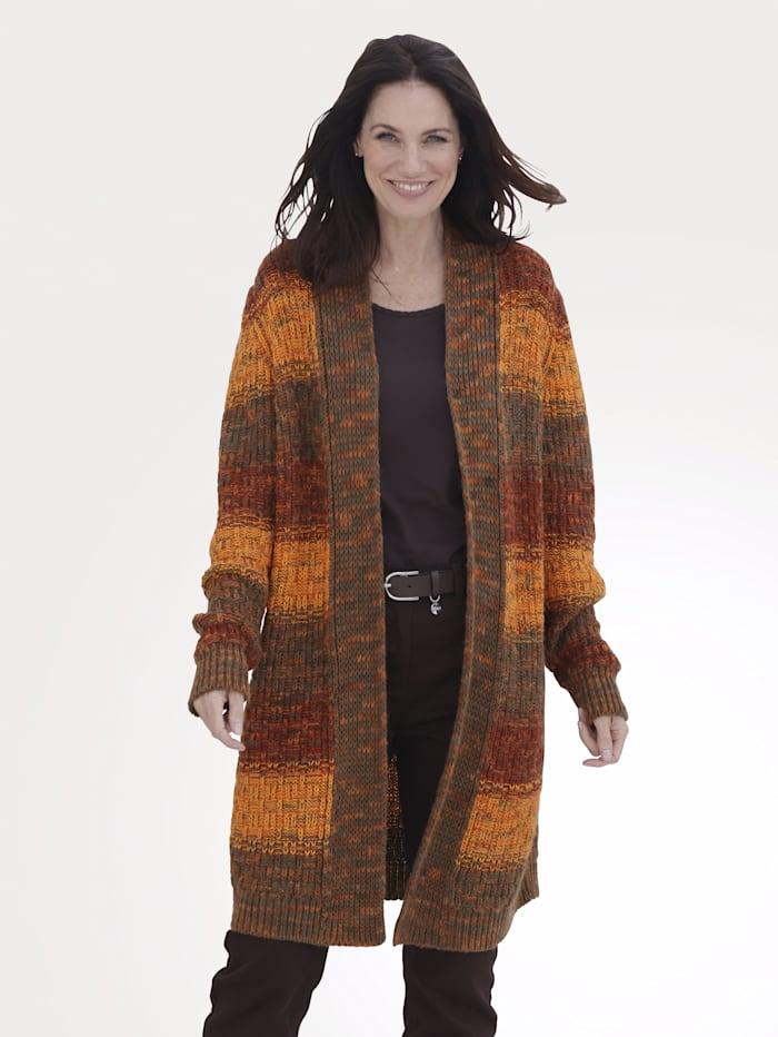 MONA Veste en maille à très beau dégradé de couleurs, Orange/Bordeaux/Marron