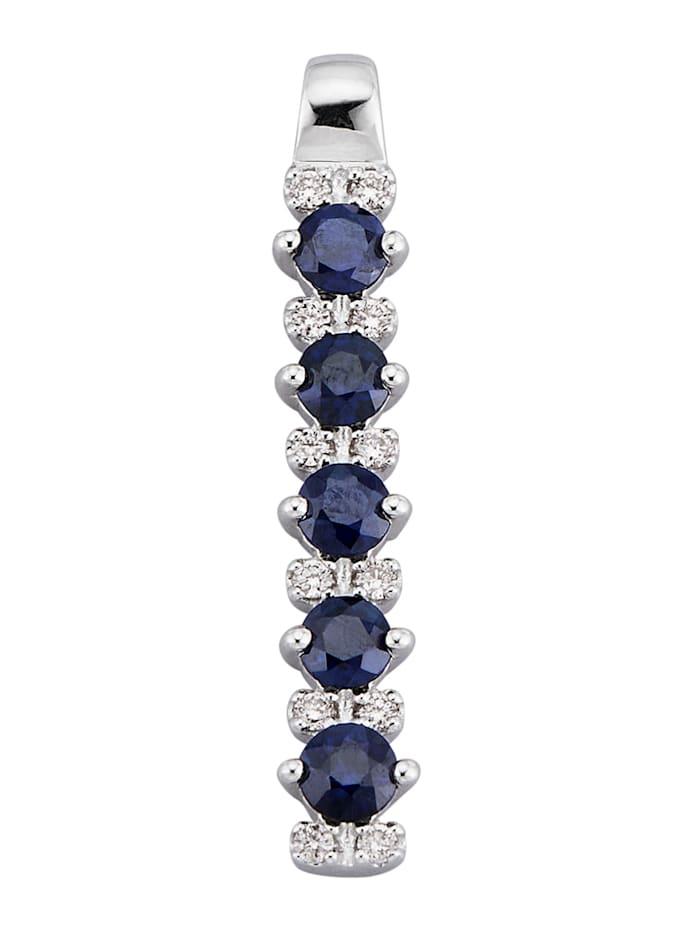 Diemer Farbstein Anhänger mit Diamanten und Saphiren, Blau