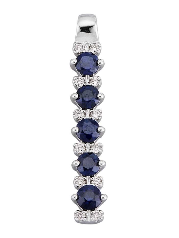 Diemer Farbstein Hanger met diamanten en saffieren, Blauw