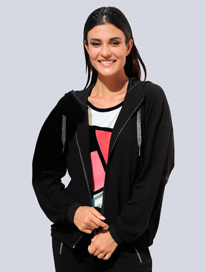 Alba Moda Sweatjacke aus strukturierter Qualität, Schwarz