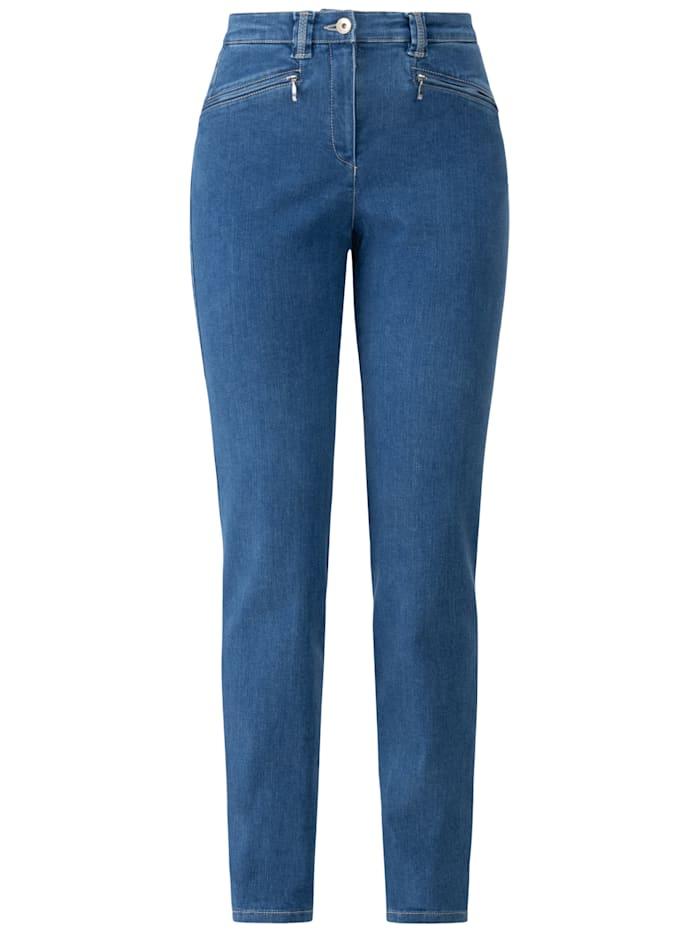 RECOVER Pants Jeans mit Reißverschlusstaschen, mittelblau