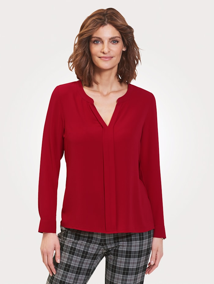 MONA Pull-on blouse in light crêpe fabric, Red