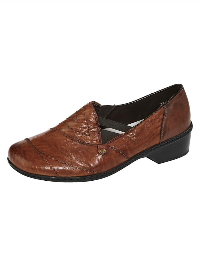 Rieker Slip-on shoes with exquisitedesign, Cognac