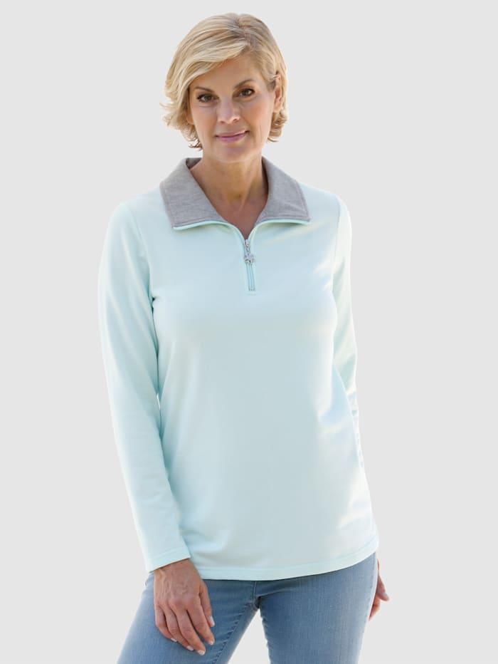 Paola Sweatshirt mit kurzem Reißverschluss, Mintgrün