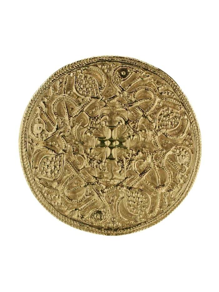 OSTSEE-SCHMUCK Brosche - Hiddensee 42 mm rund - Silber 925/000, vergoldet -, goldfarben-gelb