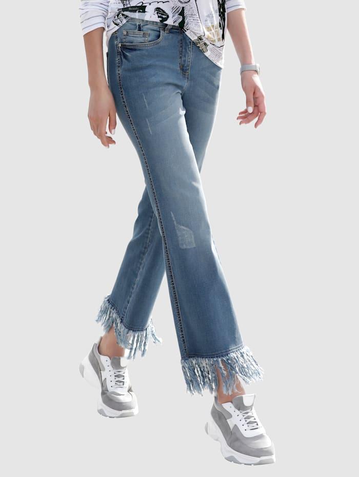 AMY VERMONT Jeans mit Fransen am Saum, Blue bleached