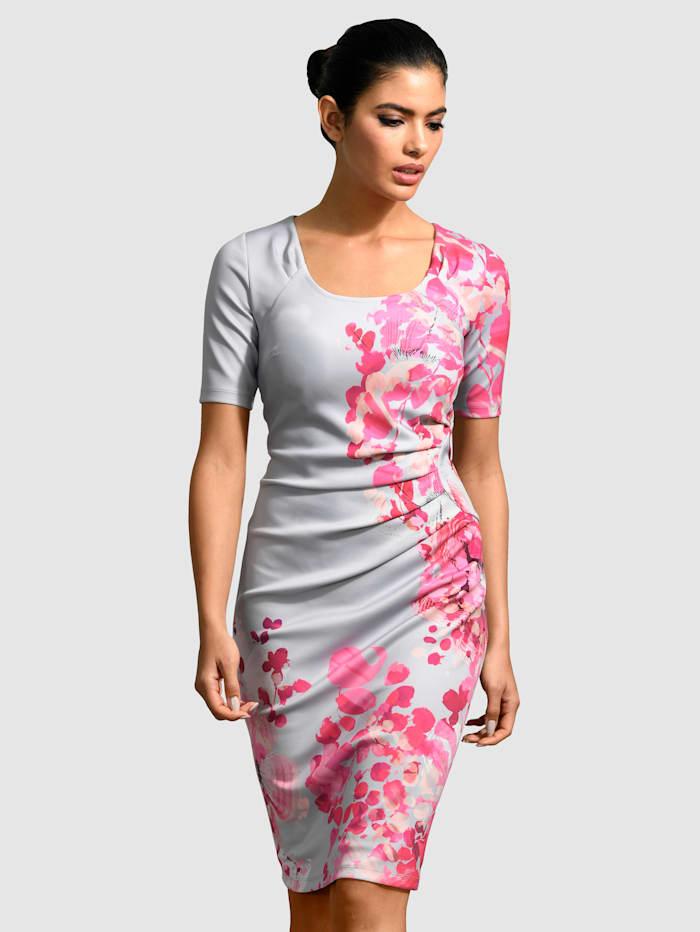 Alba Moda Kjole med blomstermønster, Grå/Pink
