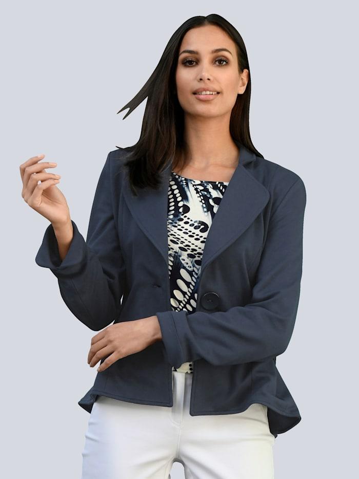 Alba Moda White Blazer mit Schößchen, Marineblau