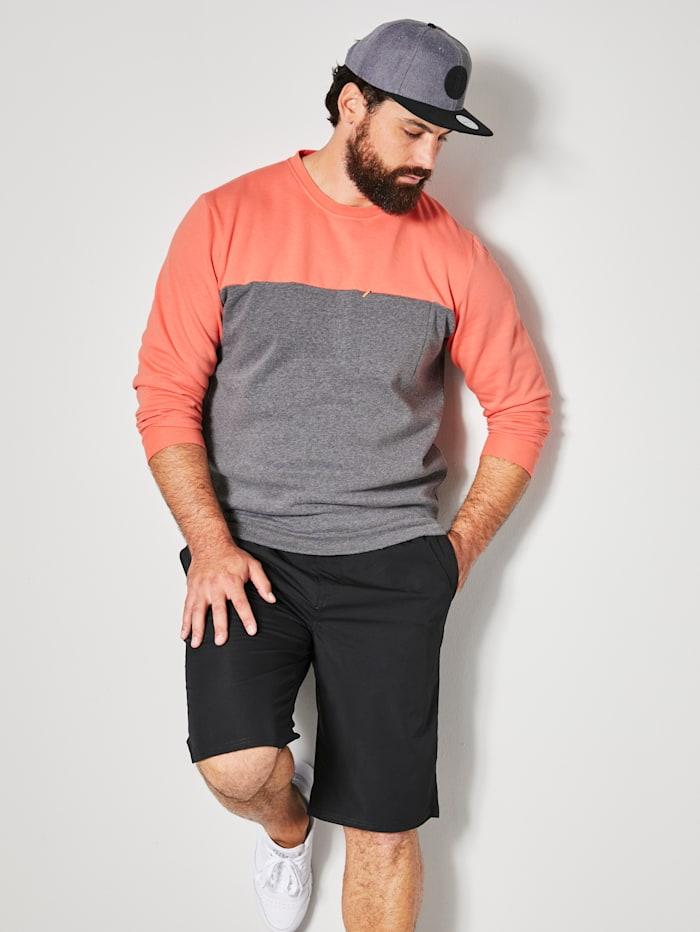 Men Plus Sweatshirt mit einer Brusttasche, Grau/Koralle