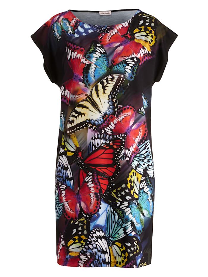 Alba Moda Strandkleid mit Schmetterlingsdruck, schwarz-bunt