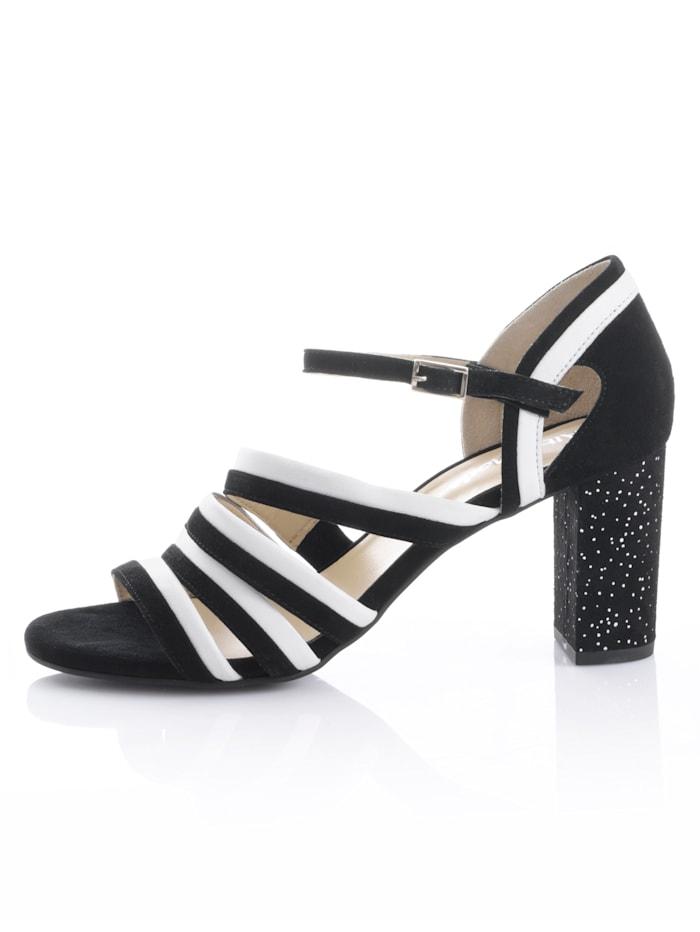 Sandaler med mønstret hæl