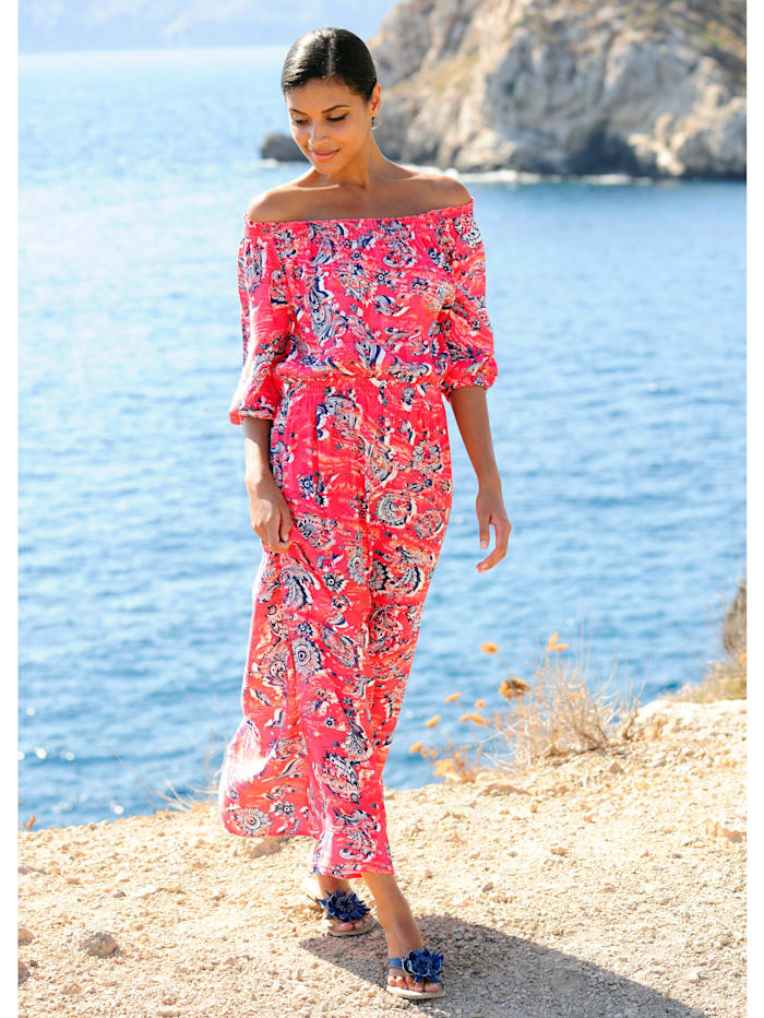 Alba Moda Strandkleid in Carmenform, Koralle-Blau