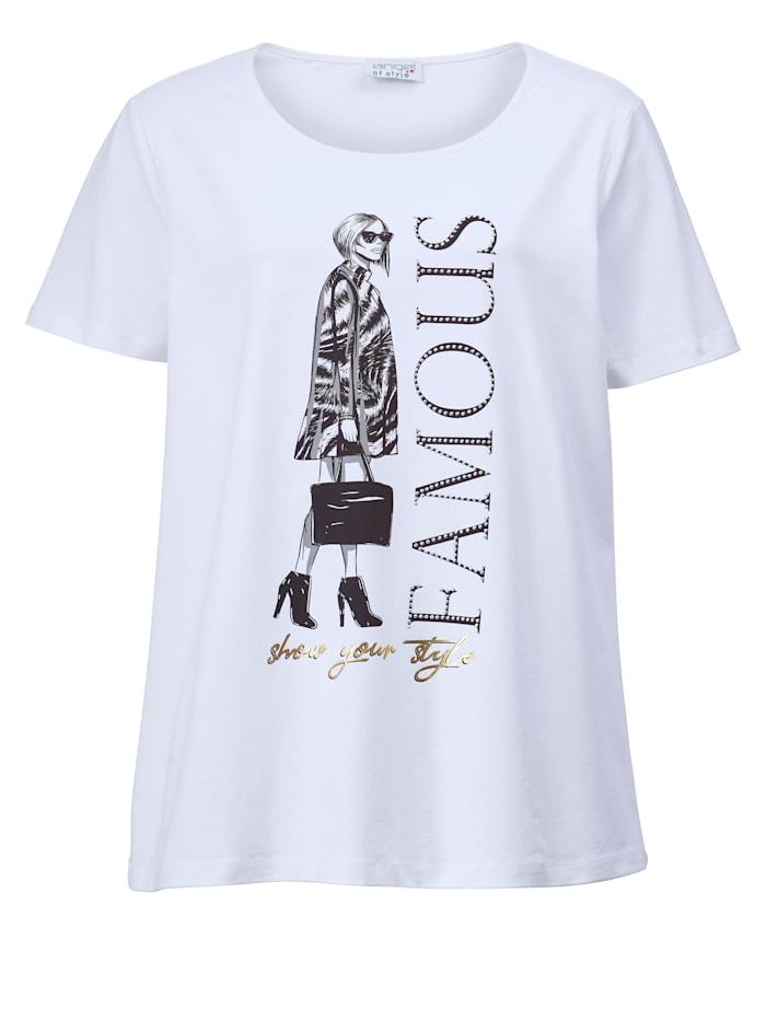 Angel of Style Shirt met motiefprint, Wit
