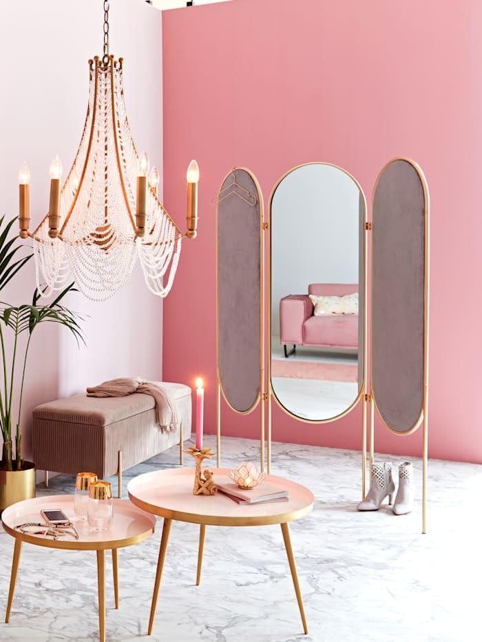 Paravent, zweifarbig, mit Spiegel