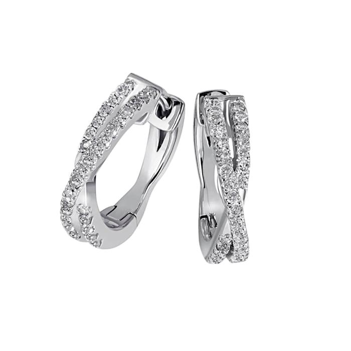 Creolen mit Diamanten, Weiß