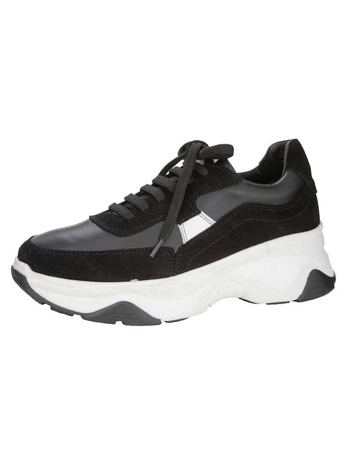 Plateausneaker in tollem Leder-Mix, Schwarz