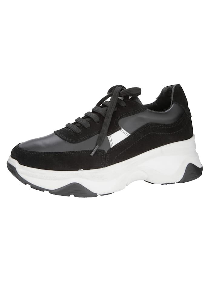 WENZ Sneakers à plateau dans une jolie association de cuirs, Noir/Blanc