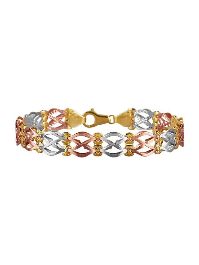 Diemer Gold Bracelet En or jaune, blanc et rose 585, Coloris or jaune