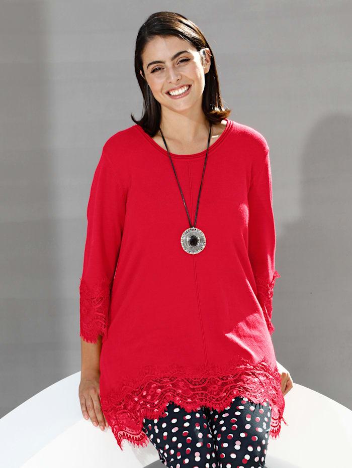 m. collection Pullover mit floralem Spitzenbesatz, Rot