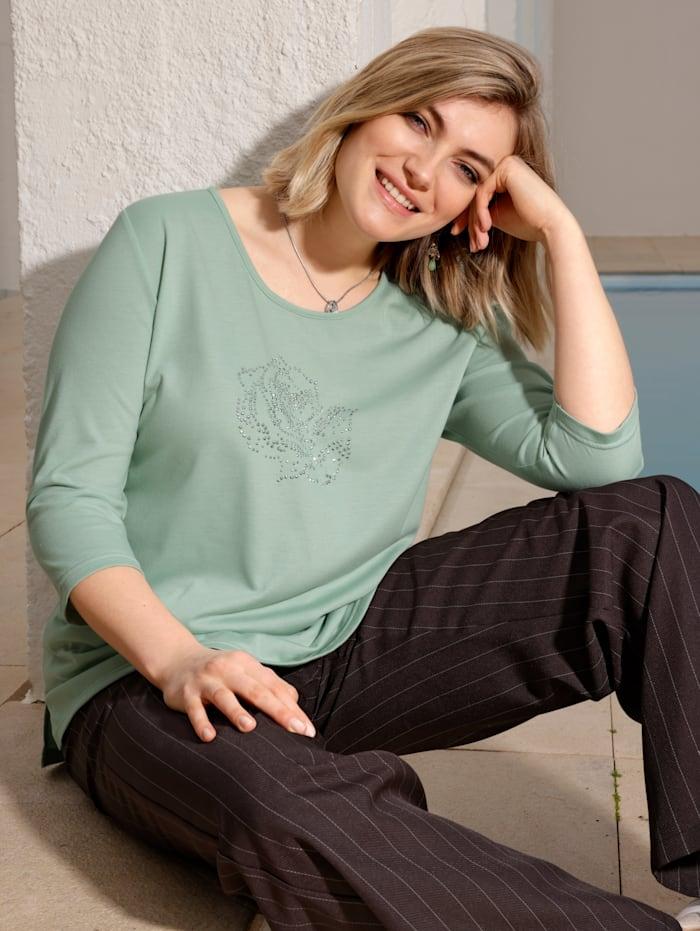 m. collection Shirt mit Rosenmotiv, Grün