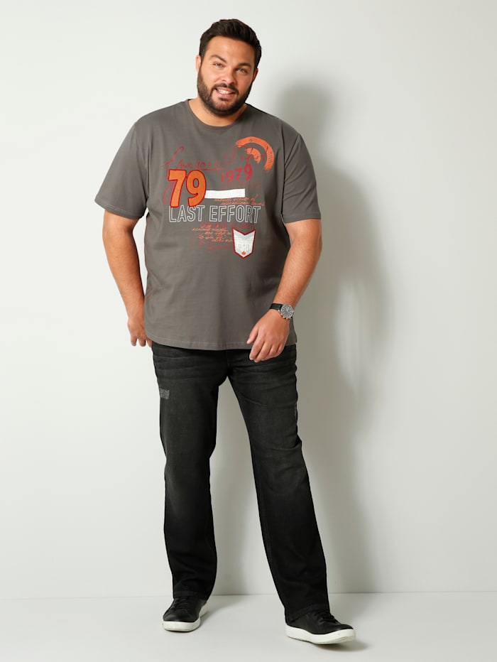 Men Plus T-Shirt aus reiner Baumwolle, Grau/Hellrot