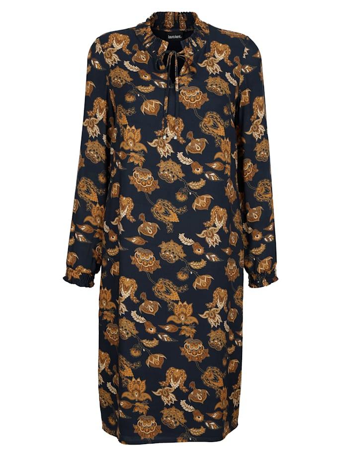 Laura Kent Kleid mit Ornamentdruck, Marineblau