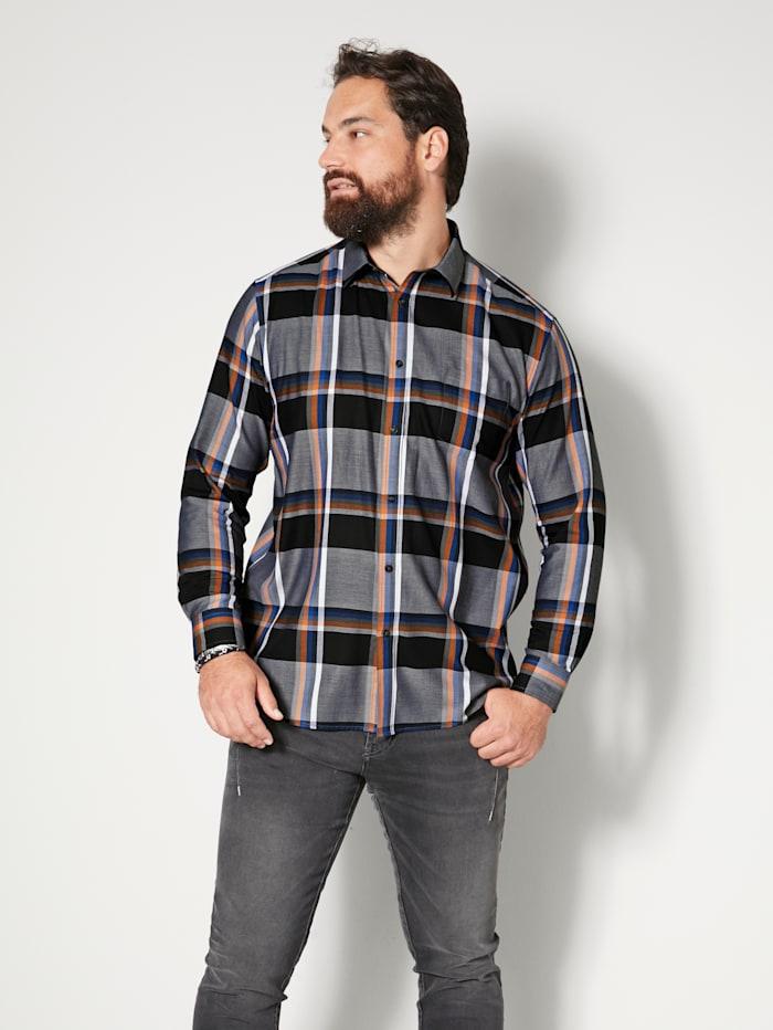 Men Plus Hemd aus reiner Baumwolle, Schwarz/Weiß/Marineblau