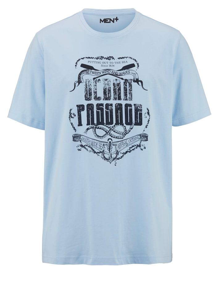 Men Plus T-Shirt aus reiner Baumwolle, Hellblau