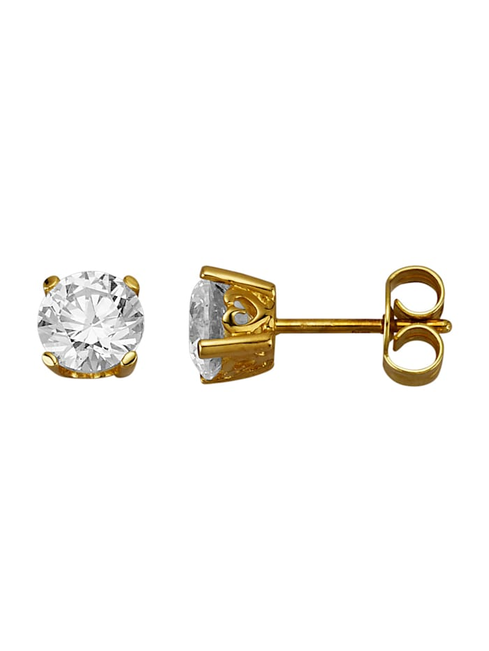 Amara Or Boucles d'oreilles en or jaune 585, Blanc