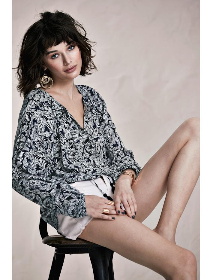 Bluse mit Palmenblatt-Print