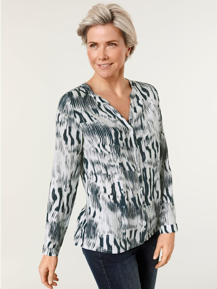 MONA Blouse met abstract zebradessin, Ecru/Blauw