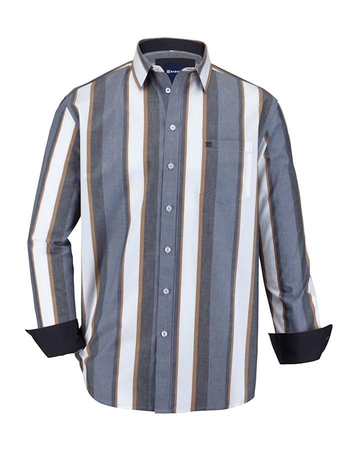 BABISTA Chemise à motif rayé tissé-teint, Bleu/Marron/Blanc