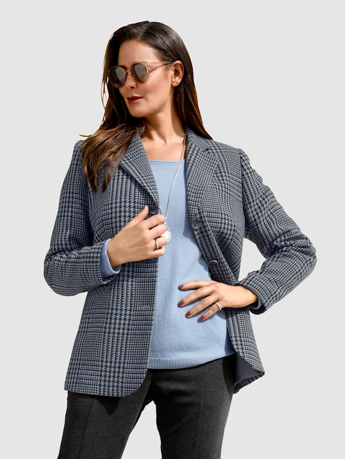 MIAMODA Veste de coupe classique blazer, Bleu/Gris
