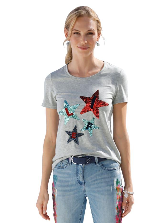 AMY VERMONT Shirt mit Pailletten, Grau