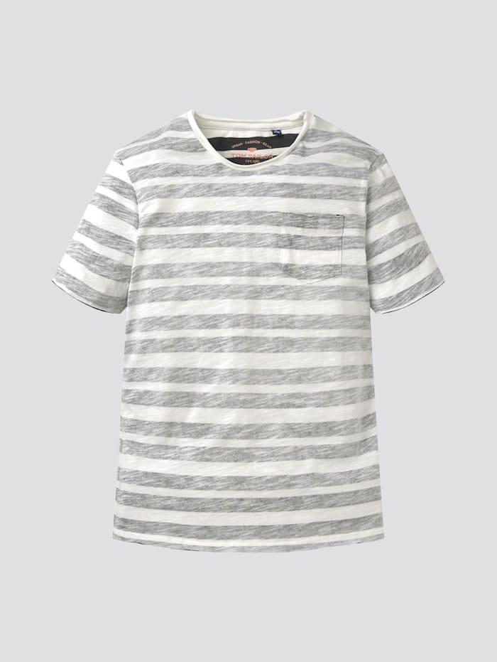 Tom Tailor Gestreiftes T-Shirt, black stone wash denim