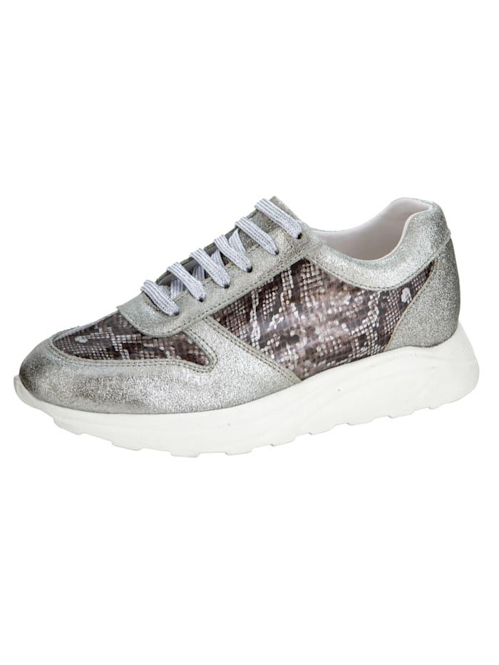 Sneaker met trendy slangenprint, Zilverkleur