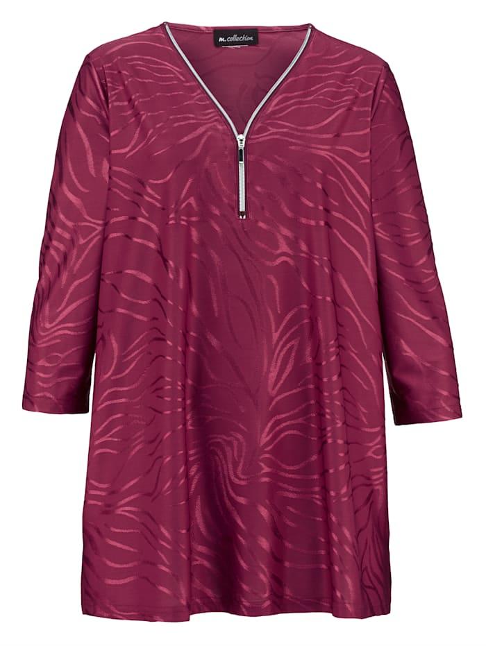 m. collection Shirt im Jacquard-Design, Bordeaux