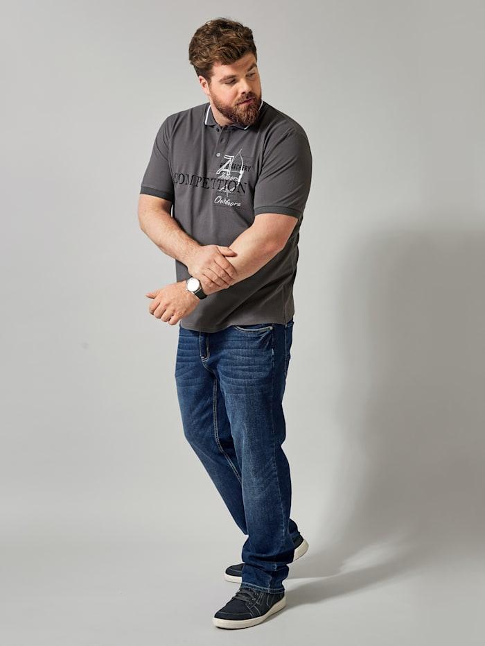 Men Plus Poloshirt in Piqué-Qualität, Grau