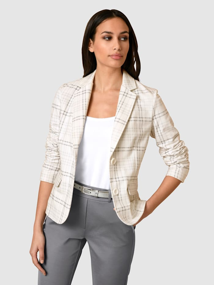 Alba Moda Blazer in softem Jersey, Off-white/Grau