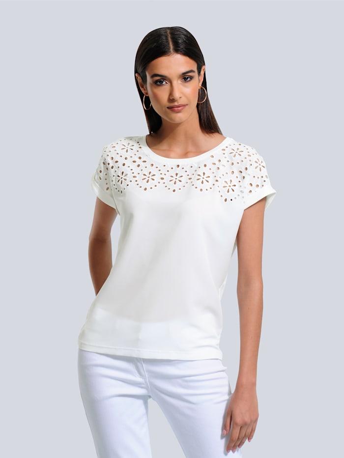 Alba Moda Shirt mit filigraner Lochstickerei, Off-white