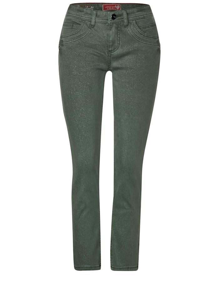 Street One Denim mit Glitzer-Effekt, shiny celadon soft wash